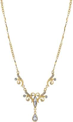 1928 Filigree Crystal Teardrop Necklace