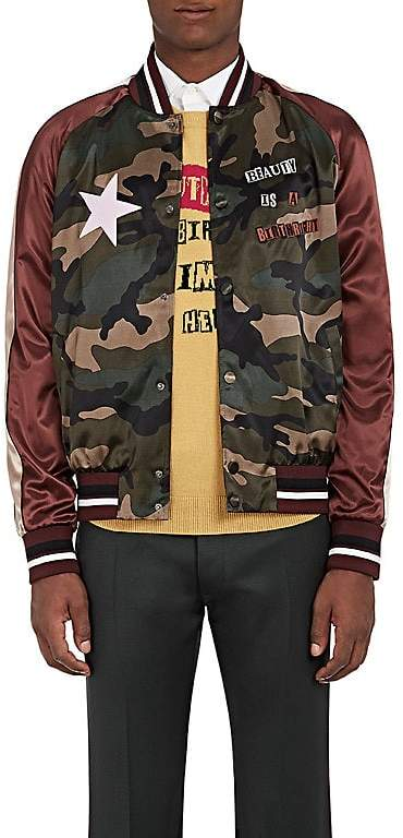 Valentino Men's Souvenir Star-Appliquéd Satin Bomber Jacket