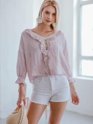 Goodnight Macaroon 'Cali' Pink Crochet Ruffle Blouse