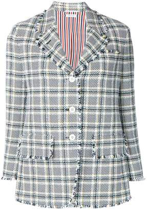 Thom Browne Wide Lapel Single Breasted Sport Coat With Fray In Madras Cotton Tweed