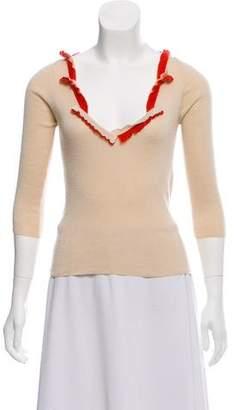 Prada Cashmere & Silk-Blend V-Neck Sweater