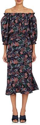 Saloni Women's Grace Floral Silk Maxi Dress $625 thestylecure.com