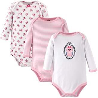 Hudson Baby Girls' 3-Pack Long-Sleeve Hanging Bodysuit