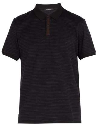 Ermenegildo Zegna - Suede Placket Cotton Polo Shirt - Mens - Navy Multi