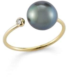 Mizuki Diamond & Pearl Openwork Ring