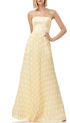 Kay Unger Strapless Polka Dot Pleated Gown