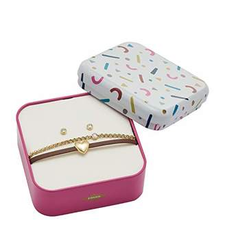 Fossil Women's Heart -Tone Stainless Steel Studs and Bracelet Box Set