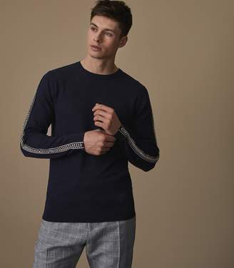 Reiss FRANCESCO Embroidered linen jumper