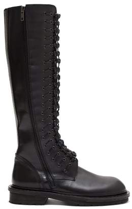 Ann Demeulemeester Knotted Lace Up Leather Boots - Womens - Black