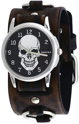 Nemesis #FRBB921K Men's Death Skull Dial Wide Leather Ring Cuff Band Watch