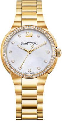 Swarovski Women's Swiss City Mini Gold-Tone Stainless Steel Bracelet Watch 32mm