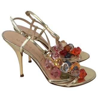 Casadei 100% Authentic Metallic Gold Sandals Large Multi Color Stones