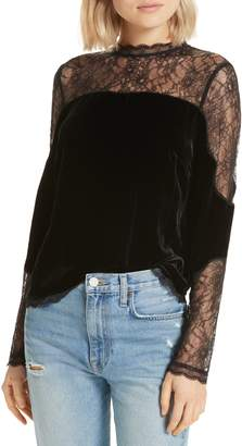 Joie Cassina Velvet & Lace Top