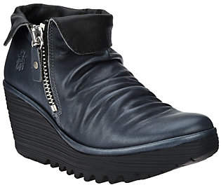 Fly London Leather Wedge Ankle Boots - Yoxi