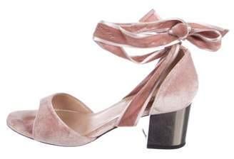 Valentino Velvet Wrap-Around Sandals