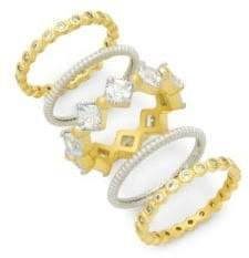 Freida Rothman Cubic Zirconia & Sterling Silver Eternity Stackable Ring Set