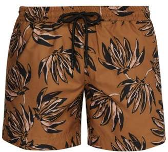 COMMAS Banana Leaf Print Swim Shorts - Mens - Brown