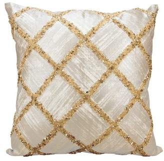 Nourison Kathy Ireland Beaded Diamonds Gold Throw Pillow