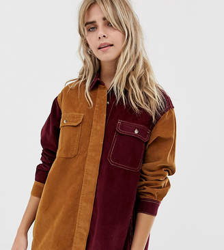 2058888256405 Pull Bear cord color block shirt in camel and burgundy