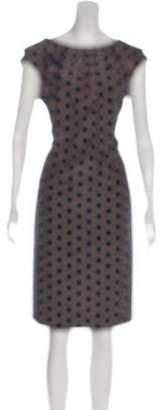Lela Rose Silk-Blend Polka Dot Dress Tan Silk-Blend Polka Dot Dress