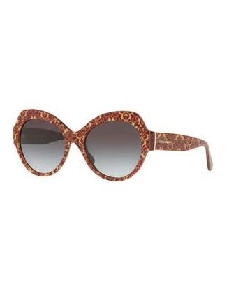 Dolce & Gabbana Damask Printed Acetate Cat-Eye Sunglasses
