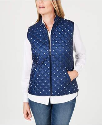 Karen Scott Petite Polka Dot Puffer Vest, Created for Macy's
