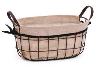 Metal Storage Basket With Linen Liner