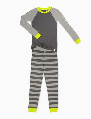 Calvin Klein boys raglan sleeve top + striped pants pajama set