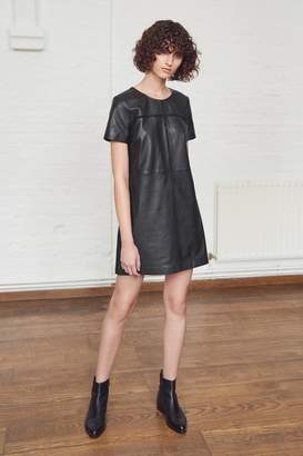 French Connection Gizo Leather Round Neck Dress