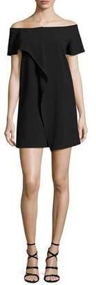 Halston Off-the-Shoulder Asymmetric Draped Dress