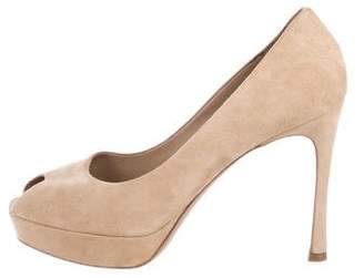 Saint Laurent Suede Peep-Toe Sandals