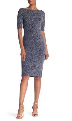 Maggy London Short Sleeve Birdseye Knit Textured Knit Dress