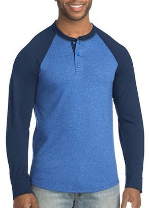 Hanes Men's FreshIQ X-Temp Colorblock Long-Sleeve Raglan Henley Tee