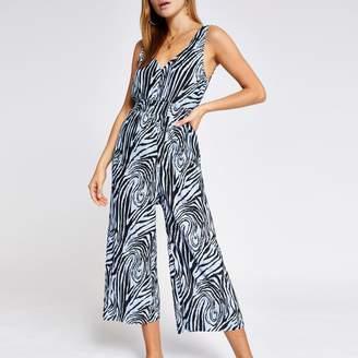 River Island Womens Blue zebra print plisse jumpsuit