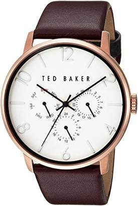 Ted Baker Men's Smart Casual Stainless Steel Japanese-Quartz Watch with Leather Strap