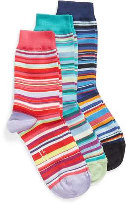 Paul Smith Gizzy 3-Pack Assorted Multi Stripe Crew Socks