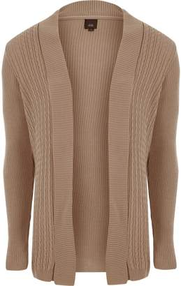 River Island Mens Brown cable knit panel cardigan