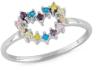 Tiara Kid's Cubic Zirconia Heart Ring in Sterling Silver