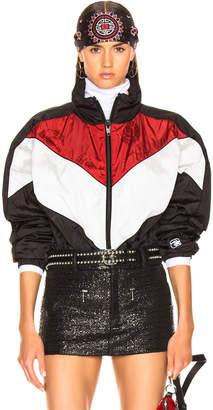 Alexander Wang Concealed Hood Windbreaker in Black, White & Red | FWRD