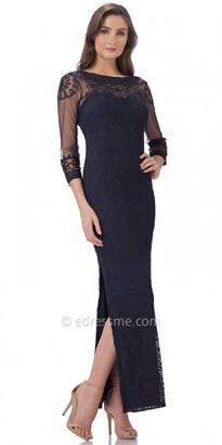 JS Collections Lace Illusion Long Sleeve Evening Dress $350 thestylecure.com