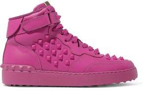 Valentino Rockstud Leather High-top Sneakers