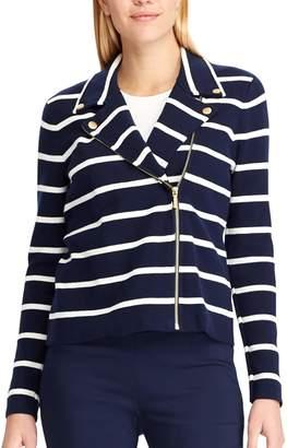 Chaps Women's Asymmetrical Striped Sweater Jacket