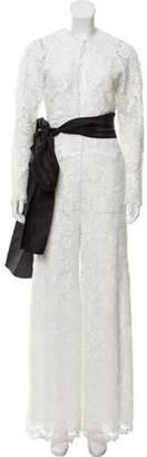 Rosie Assoulin Giupure Appliqué High-Rise Jumpsuit White Giupure Appliqué High-Rise Jumpsuit