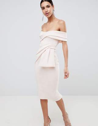 Asos Design Bardot Fold Wrap Front Midi Pencil Dress
