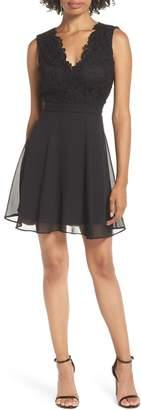 LuLu*s Lace & Chiffon Skater Dress