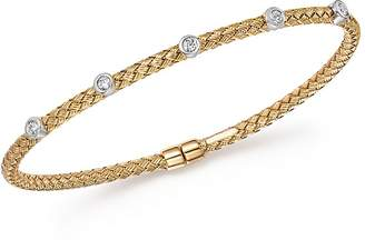 Bloomingdale's Diamond Bezel Weave Flex Bangle in 14K Yellow and White Gold, .20 ct. t.w. - 100% Exclusive