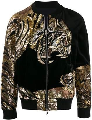 Balmain velour tiger embroidery bomber jacket