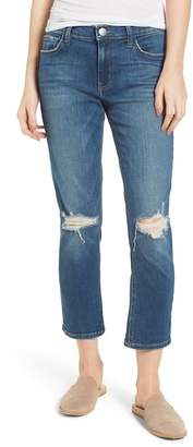 Current\u002FElliott The High Waist Crop Straight Leg Jeans (Joey Dark Destroy)