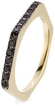 Ileana Makri 18kt Yellow Gold Ring with Black Diamonds