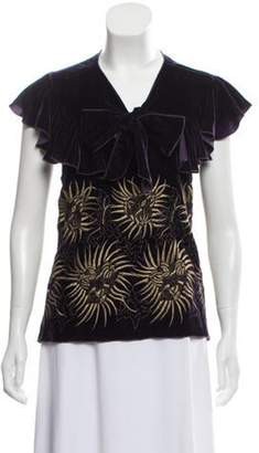 Anna Sui Velvet Embroidered Top Purple Velvet Embroidered Top